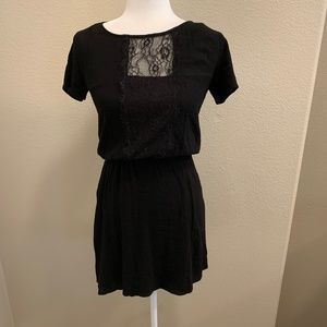 Anthro | Ella Moss Black Lace Panel Mini Dress